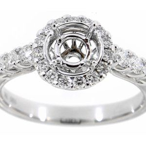 Semi Mount Engagement Ring Setting Only White Gold